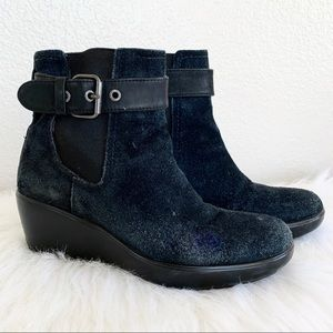 Sperry Black Suede Ankle Wedge Boots